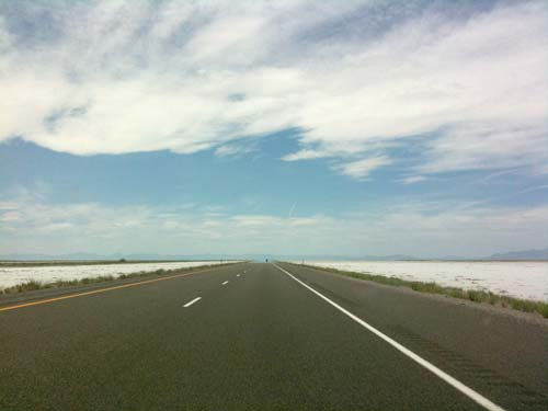 Driving through the Bonneville Salt Flats, Utah