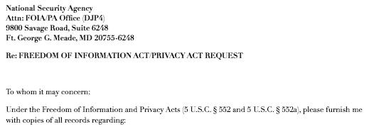 FOI/PA letterhead to NSA